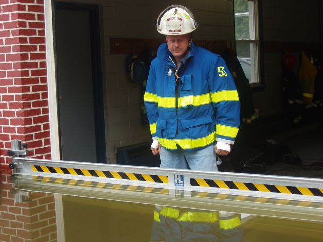 FastLogs deployed at Wassaic, NY firehouse – water at maximum level with virtually no leakage.